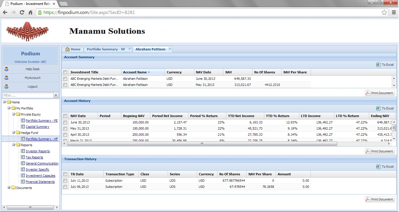 Setup your custom investor portal immediately at finpodium.com.