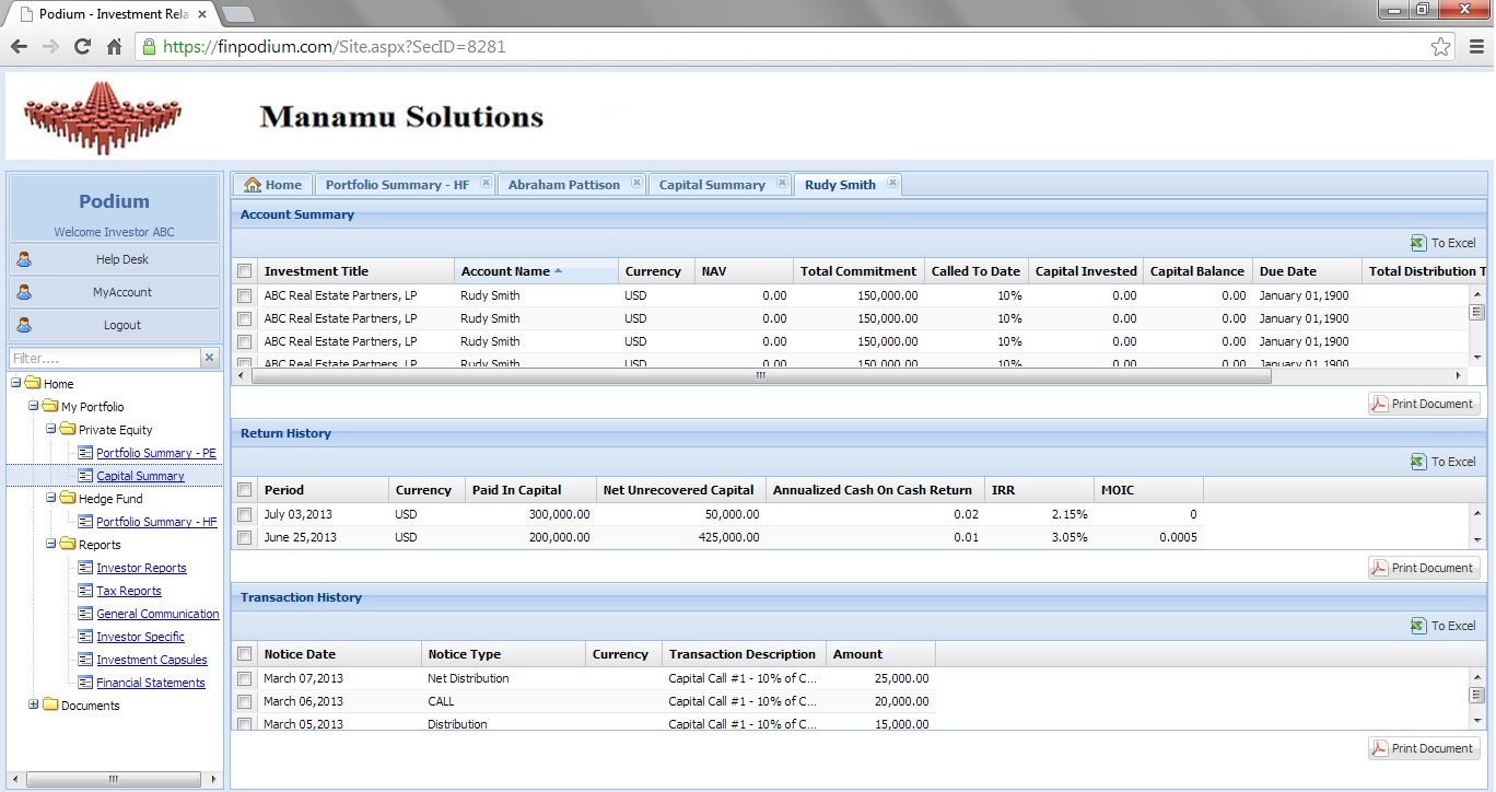 Investor portal that supports easily processing calls and distributions.